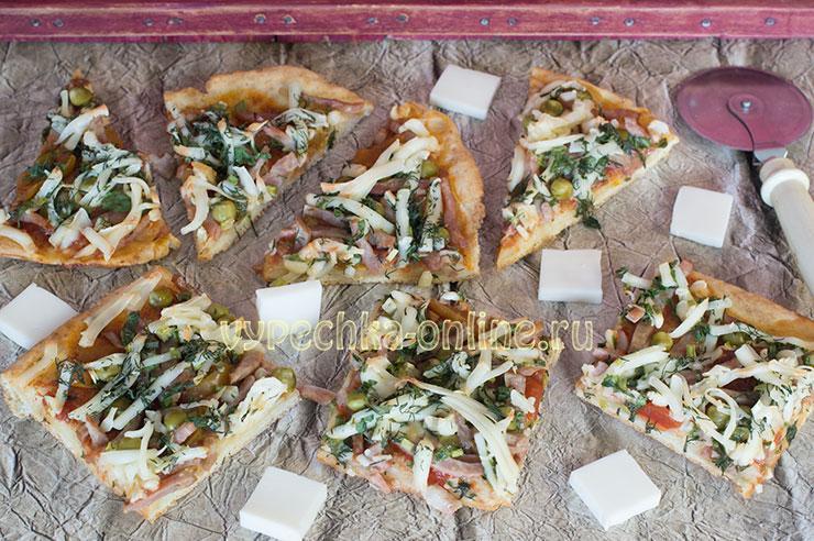 Пицца рецепт в домашних условиях с колбасой и сыром в духовке без дрожжей