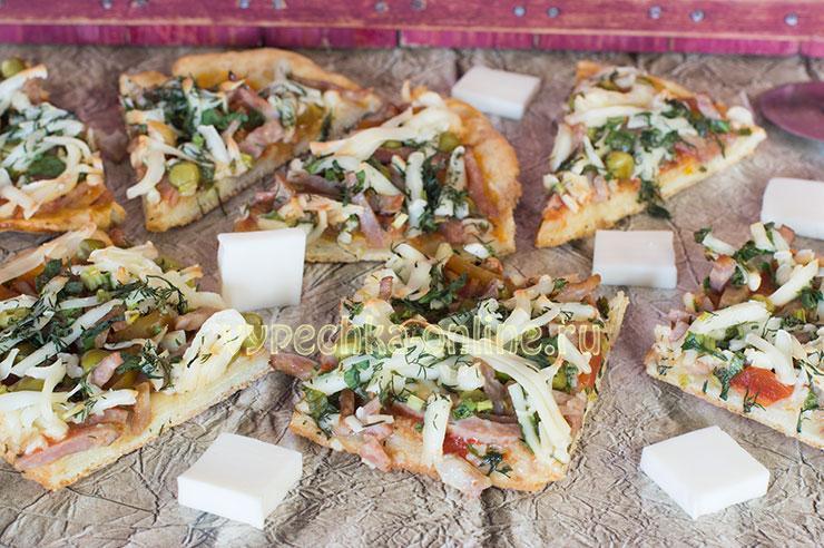 Бездрожжевая пицца рецепт в домашних условиях в духовке с колбасой и сыром
