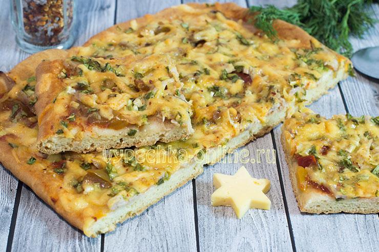 Пицца с курицей рецепт в домашних условиях в духовке