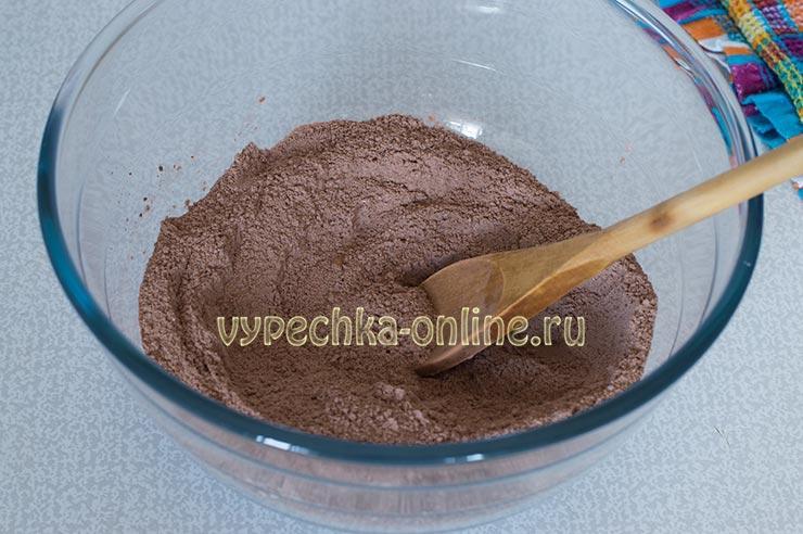 Мука, какао, сахар