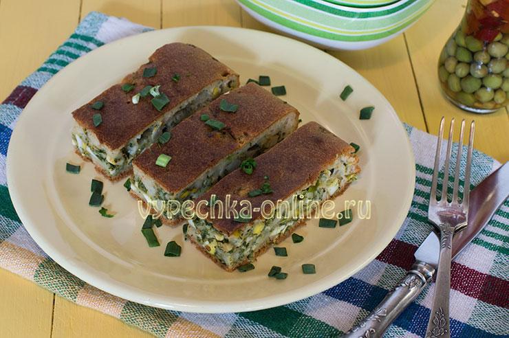 Заливной пирог с луком и яйцами на кефире рецепт с фото в духовке