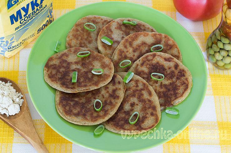 Рецепт из соевой муки - постные оладьи без дрожжей на воде