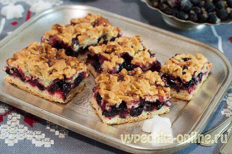 Тертый пирог со смородиной (из песочного теста с ягодами) в духовке - пошаговый рецепт с фото, быстро и вкусно