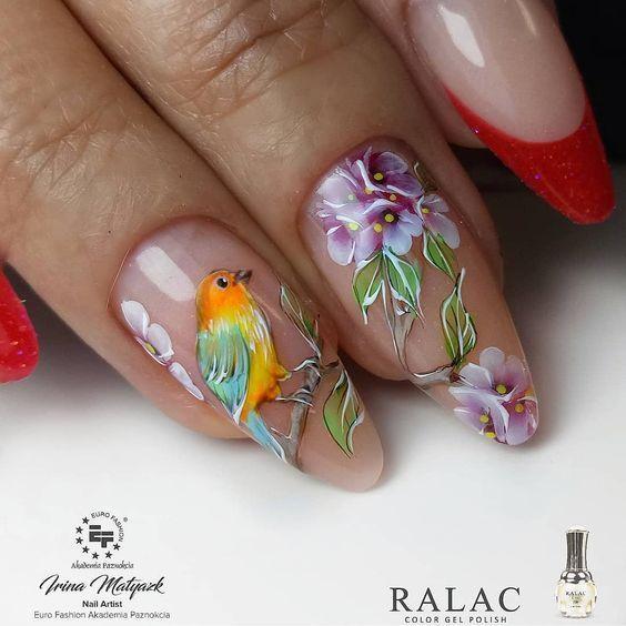 Птицы и цветы нейл арт
