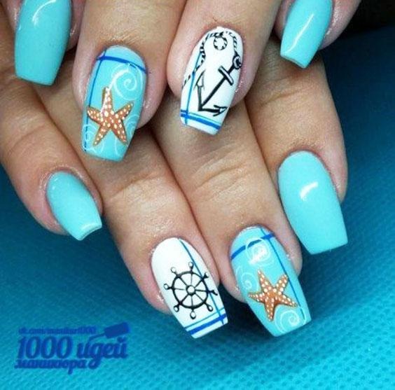 Морская тема ногти