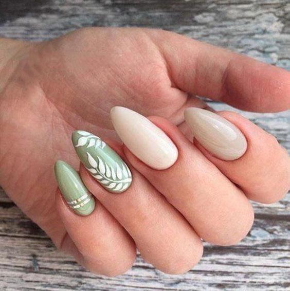 Растительные мотивы на ногтях