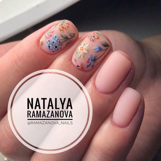 Ногти, цветочки, пастель
