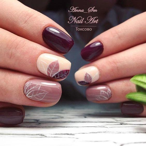 дизайн ногтей с листьями
