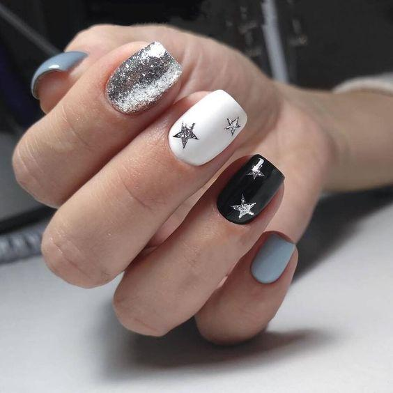 Рисунки на ногтях звездочки