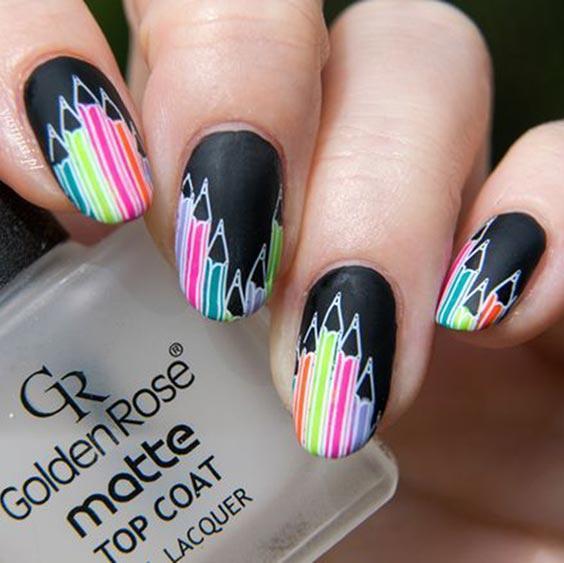 школьный дизайн ногтей