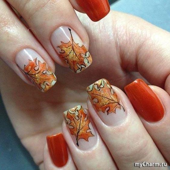 маникюр с осенними листочками