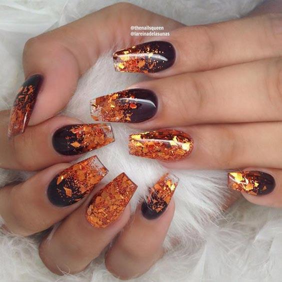 осенний маникюр 2019 коричневый с оранжевым