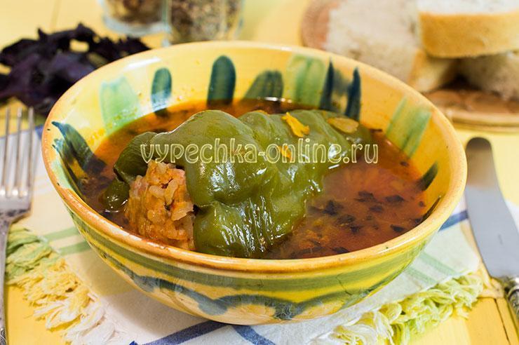 Фаршированные перцы с фаршем и рисом рецепт в духовке