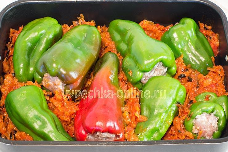 Фаршированные перцы с фаршем запеченные в духовке рецепт с фото