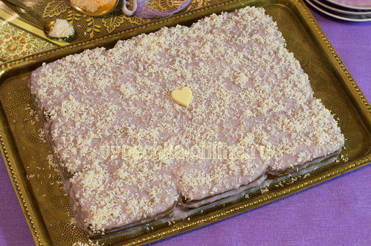 Торт из печенья без выпечки с заварным кремом