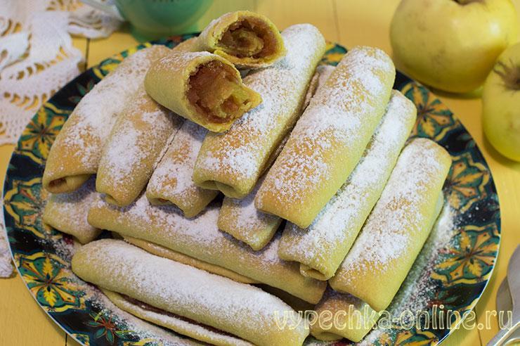 Яблочные трубочки рецепт из песочного теста