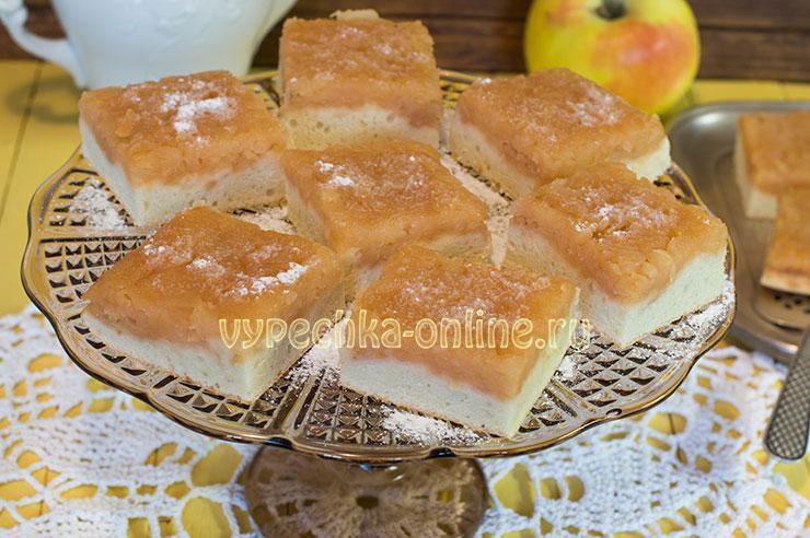 Бисквит с яблоками в духовке рецепт с фото