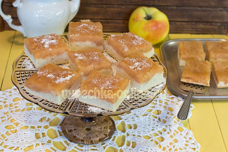 Бисквитный пирог с яблоками в духовке рецепт с фото пошагово простой и вкусный