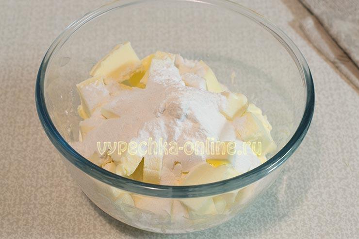 Масло, сахарная пудра
