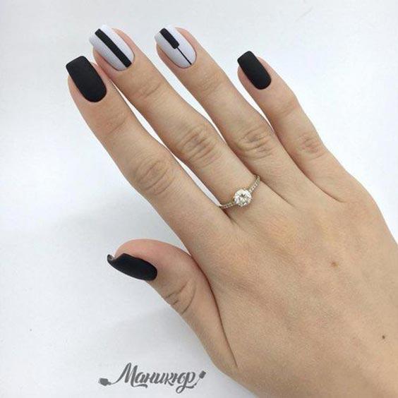 чёрно-белый маникюр на длинные ногти