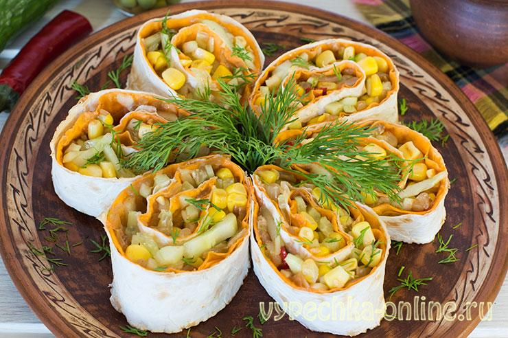 Лаваш с постной начинкой из овощей – рецепт с фото