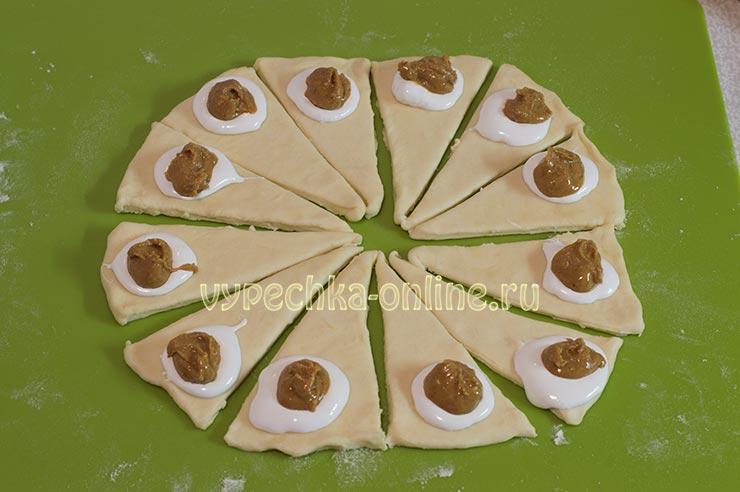 Творожные рогалики рецепт с Marshmallow fluff и арахисовой пастой