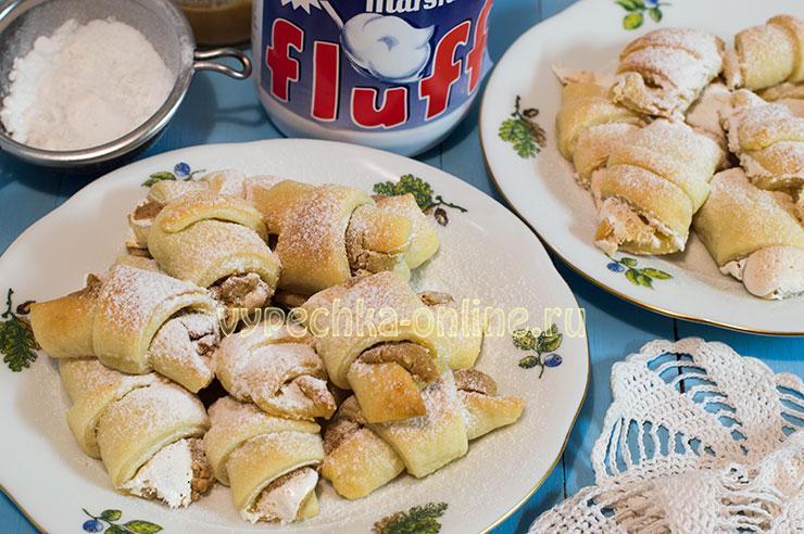 Творожные рогалики рецепт с фото пошагово в духовке с Marshmallow fluff (Маршмеллоу флафф)