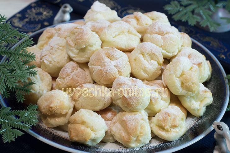 Профитроли с начинкой рецепт с фото с масляным кремом пошагово в домашних условиях