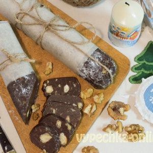 Сладкая колбаска со сгущенкой из печенья