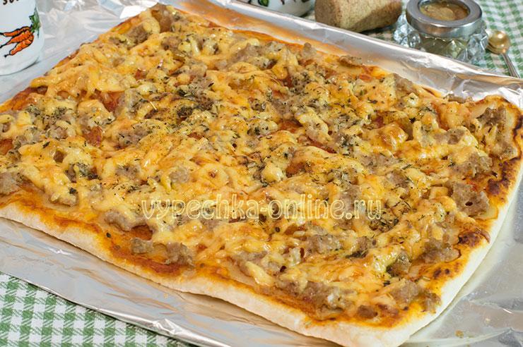 Пицца с фаршем на слоёном тесте