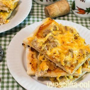 Пицца на слоёном тесте в духовке рецепт с фото пошагово с фаршем (мясом) и сыром
