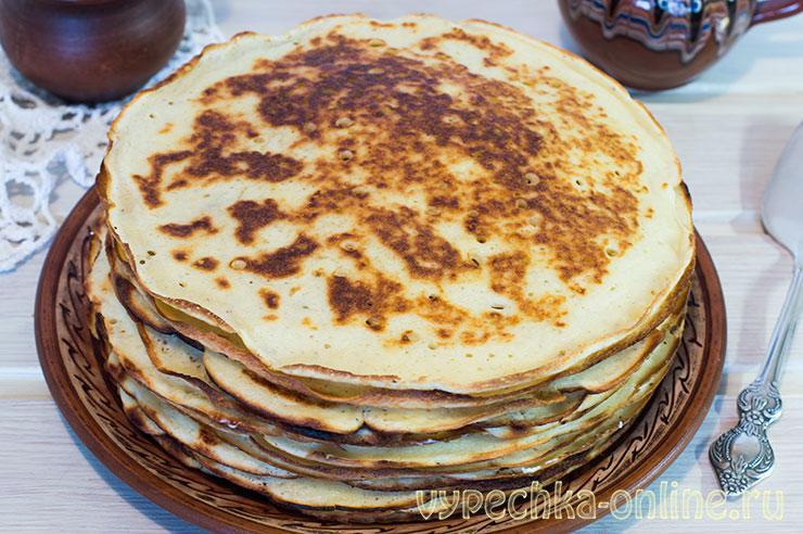 Дрожжевые блины на кефире толстые с дырочками – рецепт с фото пошагово
