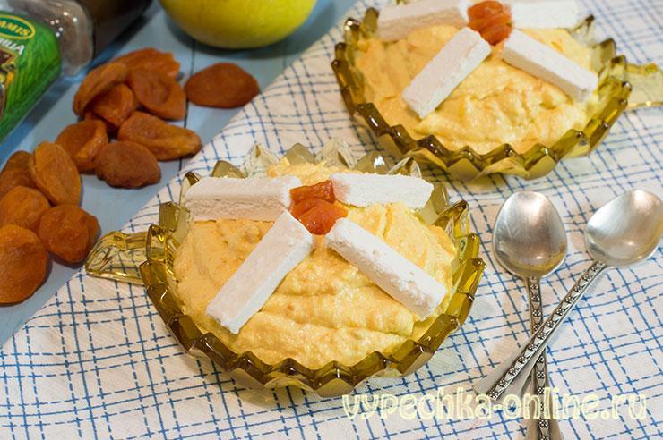 Десерт из творога без выпечки в домашних условиях с яблоком и курагой на скорую руку – рецепт с фото