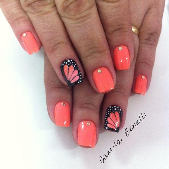 Дизайн ногтей весна 2020 оранжевый