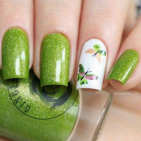Дизайн ногтей весна 2020 зеленый