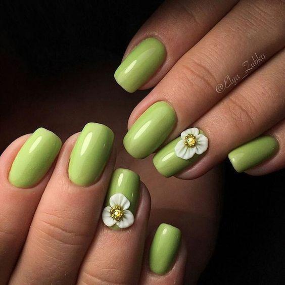 Весенний маникюр 2020 нежный зелёный – дизайн ногтей, идеи с фото