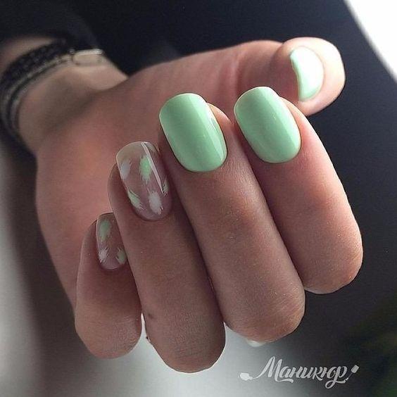 Ногти весна 2020 зелёный