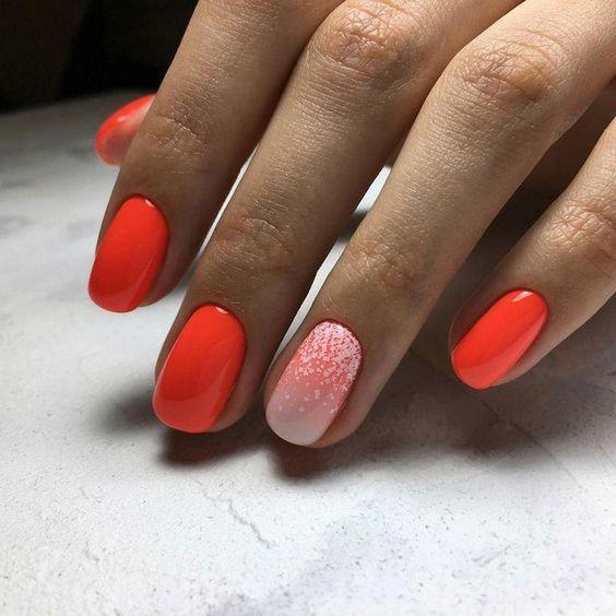 Маникюр весна 2020 оранжевый