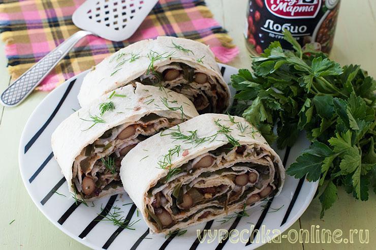 Постная начинка для лаваша в пост с фасолью и овощами, без майонеза – рецепт с фото