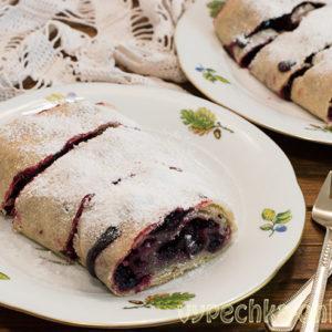 Постный штрудель рецепт с ягодами и цельнозерновой мукой в духовке