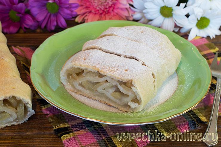 Постный штрудель с яблоками рецепт с фото в духовке (выпечка с рисовой мукой)