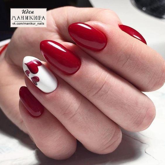 Весенний красный маникюр