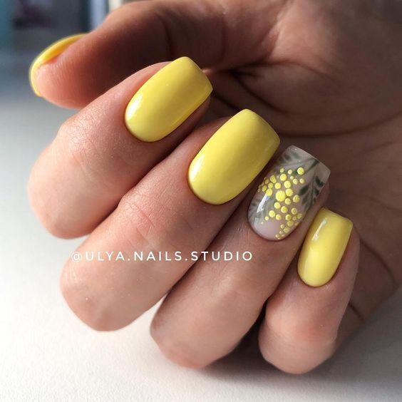 Дизайн ногтей весна 2020 жёлтый маникюр идеи