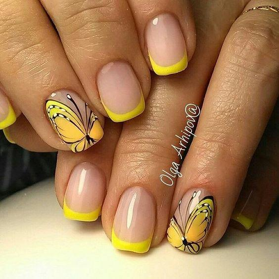 Ногти весна 2020 жёлтый лак