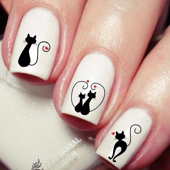 Дизайн ногтей с котиками