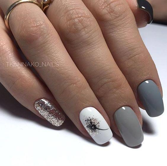 Дизайн ногтей весна 2020 серый