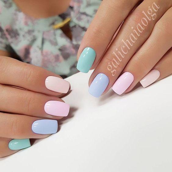 Ногти разных цветов гель лак