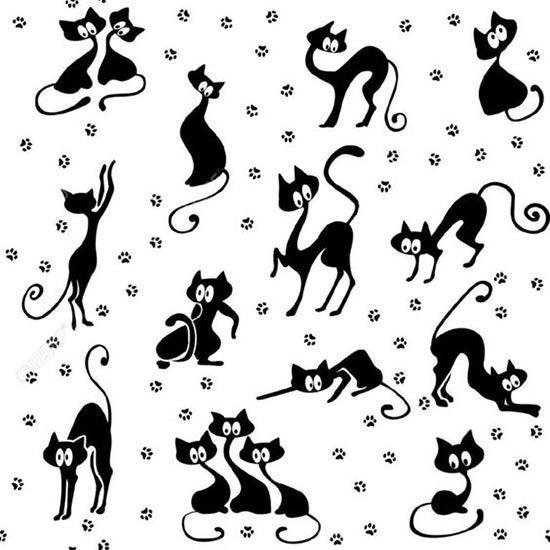 Трафареты котиков для рисования