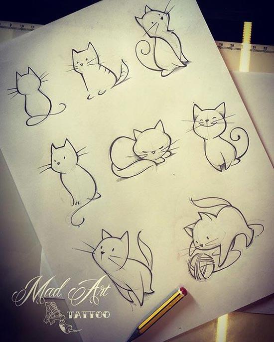 Шаблоны кошек для рисования