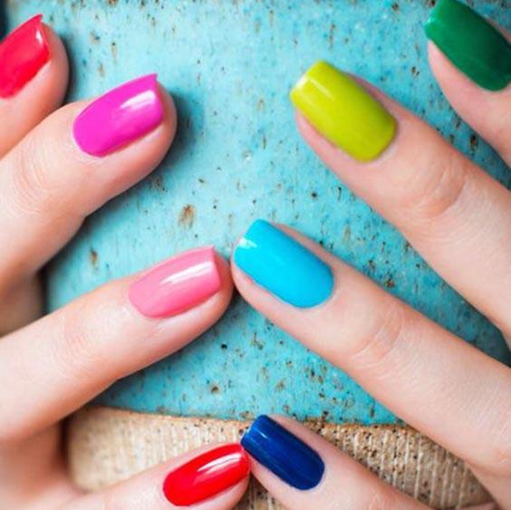 Разноцветный маникюр сочетание цветов